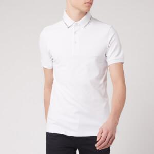 Emporio Armani Men's Collar Logo Polo Shirt - White