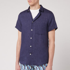 Frescobol Carioca Men's Linen Block Short Sleeve Shirt - Midnight Blue