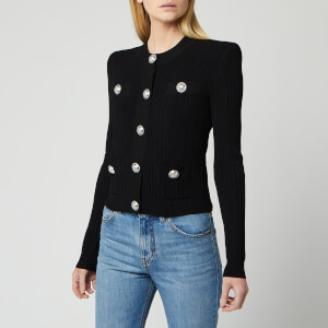 Balmain Women's Buttoned Pleated Knit Cardigan - Black