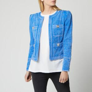 Balmain Women's Collarless Acid Wash Denim Jacket - Bleu/Blanc