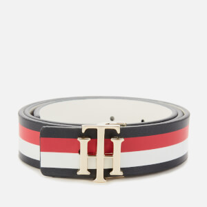 Tommy Hilfiger Women's Reversible Logo Belt - Corporate/White