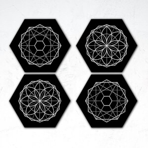 Symmetrical Circles Hexagonal Coaster Set
