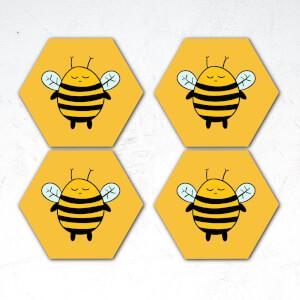 Cartoon Bees Hexagonal Coaster Set