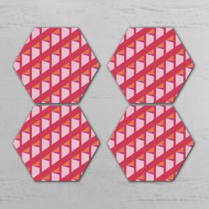 Pink Optical Illusion Hexagonal Coaster Set