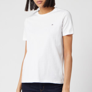 Calvin Klein Women's Small Logo Embroidered T-Shirt - White