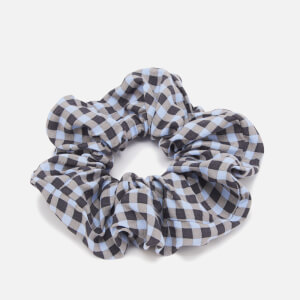 Ganni Women's Check Printed Crepe Scrunchie - Brunnera Blue