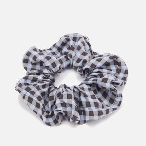Ganni Women's Check Printed Crepe Scrunchie - Brunnera Blue