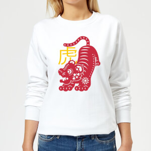 Chinese Zodiac Tiger Women's Sweatshirt - White