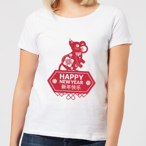 Happy New Year Symbol Red Women's T-Shirt - White