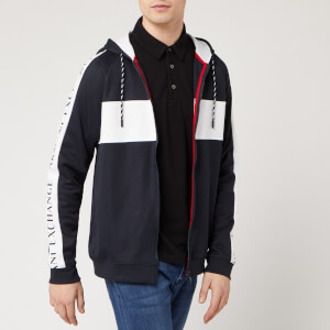 Armani Exchange Men's Tape and Block Detail Hoodie - Navy/White