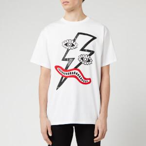 Neil Barrett Men's Surrealistic Lightning Bolt T-Shirt - White/Black/Red
