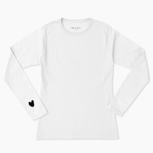 Black Valentine Heart On Your Sleeve Unisex Long Sleeved T-Shirt - White