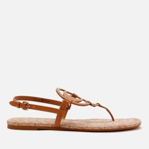 Coach Women's Jeri Leather Signature Toe Post Sandals - Taupe/Stone
