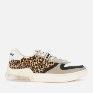 Coach Women's ADB Calfhair/Leather Court Trainers - Natural/Beachwood