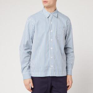 Officine Generale Men's Bob Candy Stripe Shirt - White/Blue