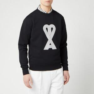 AMI Men's Big De Coeur Print Crewneck Sweatshirt - Noir