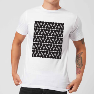 Black Love Heart Pattern Men's T-Shirt - White