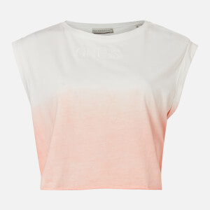 Guess Women's Sleeveless CN Sunrise T-Shirt - Dip Dye White