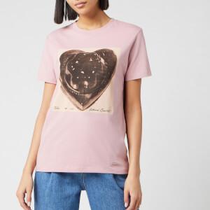 Coach 1941 Women's Black Jello Heart Classic T-Shirt - Baby Pink