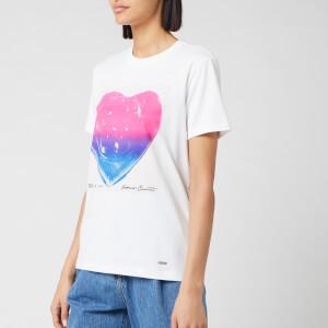 Coach 1941 Women's Pink And Blue Jello Heart T-Shirt - White