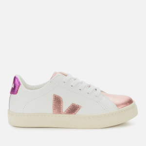 Veja Kid's Esplar Lace Leather Trainers - Extra White/Nacre/Fuchsia