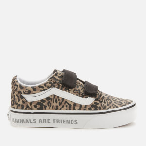 Vans Kid's Animal Old Skool Velcro Trainers - Leopard/Black