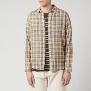 Folk Men's Orb Shirt - Light Gold Check
