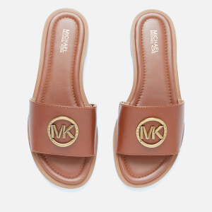 MICHAEL MICHAEL KORS Women's Brynn Leather Slide Sandals - Luggage