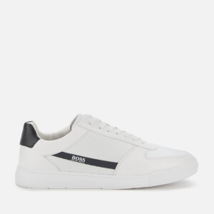 BOSS Business Men's Cosmopool Tenn Leather/Knit Trainers - White