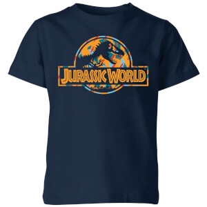 Jurassic Park Logo Tropical Kids' T-Shirt - Navy