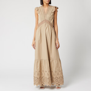Self-Portrait Women's Cotton Broderie Sleeveless Maxi Dress - Light Beige