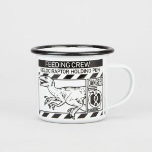 Jurassic Park Priimal Raptor Holding Pen Enamel Mug - White - Black Rim