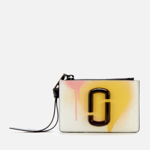 Marc Jacobs Women's The Snapshot Spray Paint Top Zip Multi Wallet - White Multi