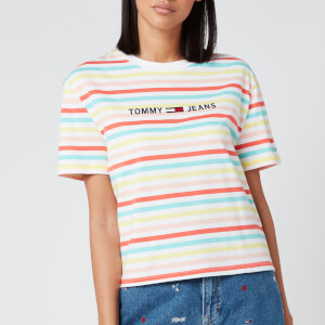 Tommy Jeans Women's Summer Stripe Logo T-Shirt - Frozen Lemon/Multi