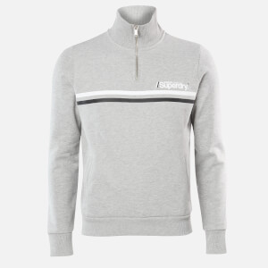 Superdry Men's Sport Stripe Half Zip Track Top - Grey Marl