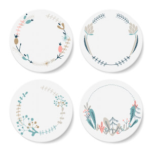 Floral Wreath Coaster Set