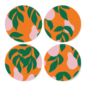 Colourful Pear Tree Coaster Set