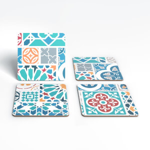 Colourful Moroccan Tiles Coaster Set
