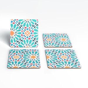 Cool Tone Flower Tiles Coaster Set