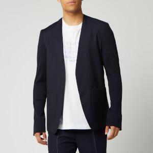 Maison Margiela Men's Collarless Mohair and Poplin Jacket - Blue