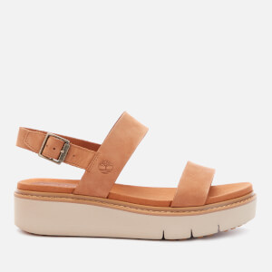 Timberland Women's Safari Dawn Leather Flatform Sandals - Rust