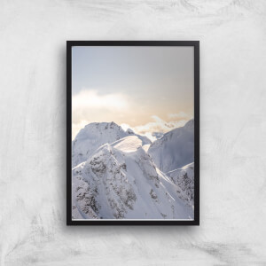 Snow Covered Mountain Top Giclee Art Print