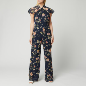 Hope & Ivy Women's Tara Jumpsuit with Back Cut Out - Navy Floral