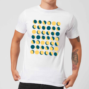 Moon Phase Pattern Men's T-Shirt - White