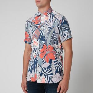Ted Baker Men's Clapp Bold Leaf Print Shirt - Blue