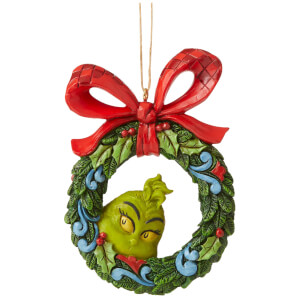 The Grinch by Jim Shore Grinch Peeking Through Wreath (Hanging Ornament) 9cm