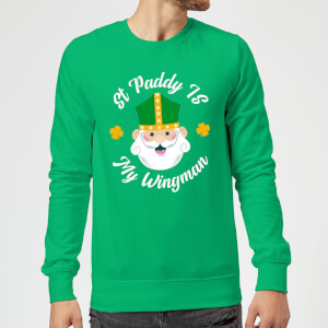 St Paddy Is My Wingman Sweatshirt - Kelly Green