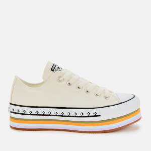 Converse Women's Chuck Taylor All Star Platform Layer Ox Trainers - Egret/Total Orange/Gum