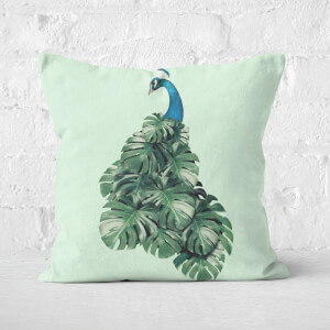 Monstera Bird Square Cushion