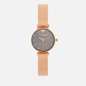 Olivia Burton Women's Queen Bee Black Mother of Pearl Mesh Watch - Rose Gold